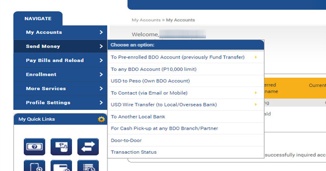 How to send money online using your BDO account