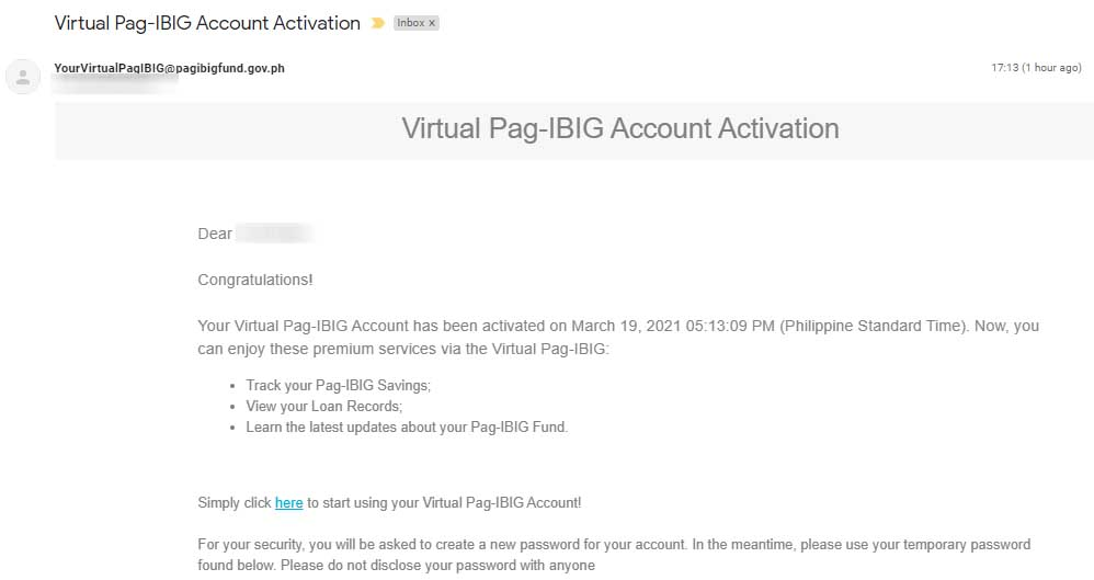 Pag-IBIG account online activation email