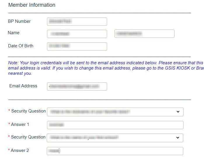GSIS online member and security question page