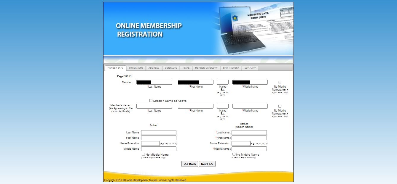 Pag-ibig member information page