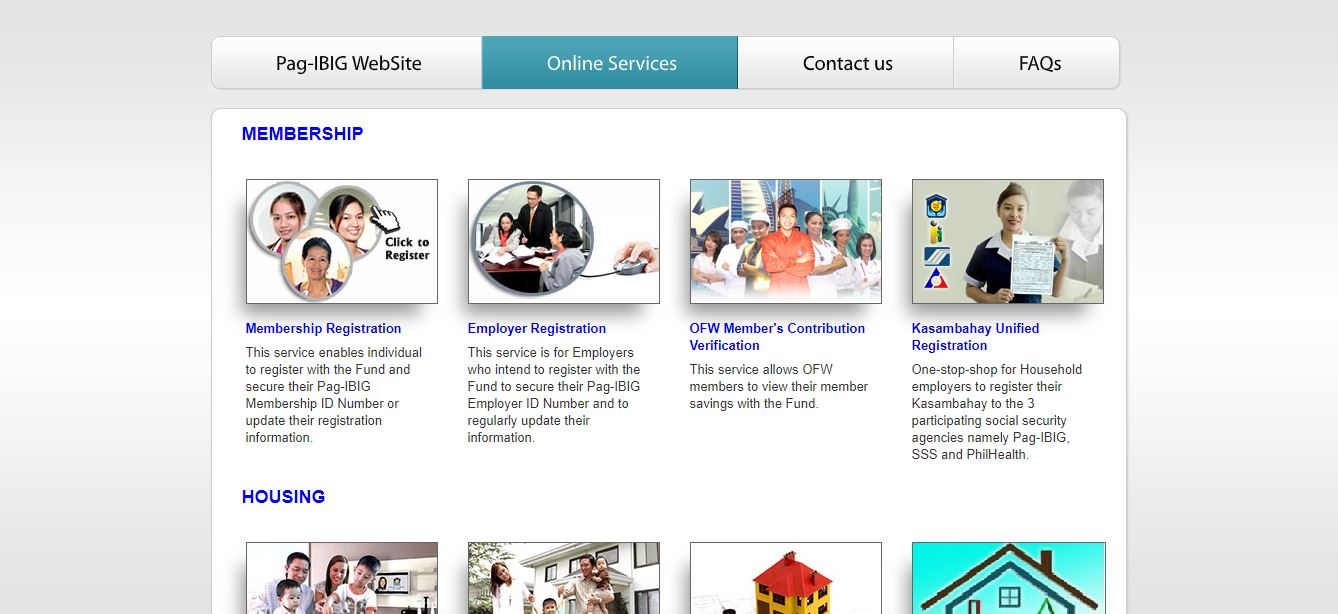 Pag-ibig online services page