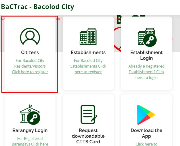 bacolod bactrac ID registration page